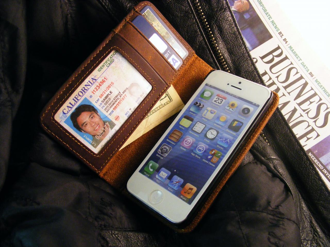 Leather Premium Pocket Book Case for iPhone 4 or iPhone 5, 5s, or 5c